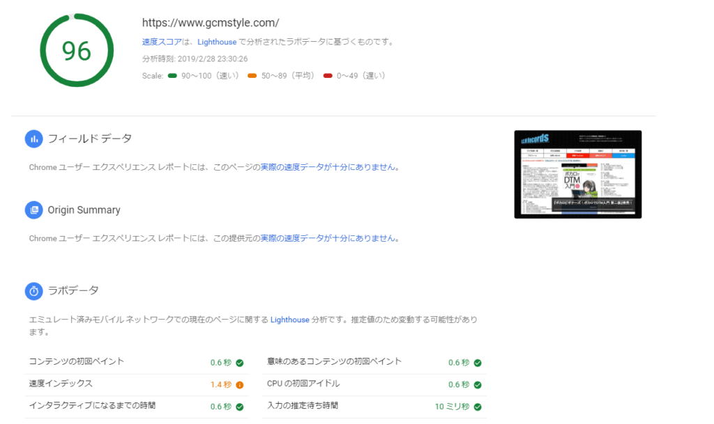 PageSpeed Insights パソコン96点