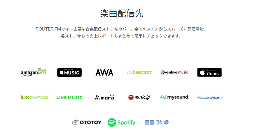 router.FMの楽曲配信先一覧(router.FMサイトより引用)