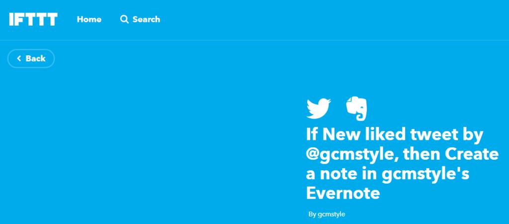 IFTTTでは、TwitterとEvernoteをつなぐ設定もできます