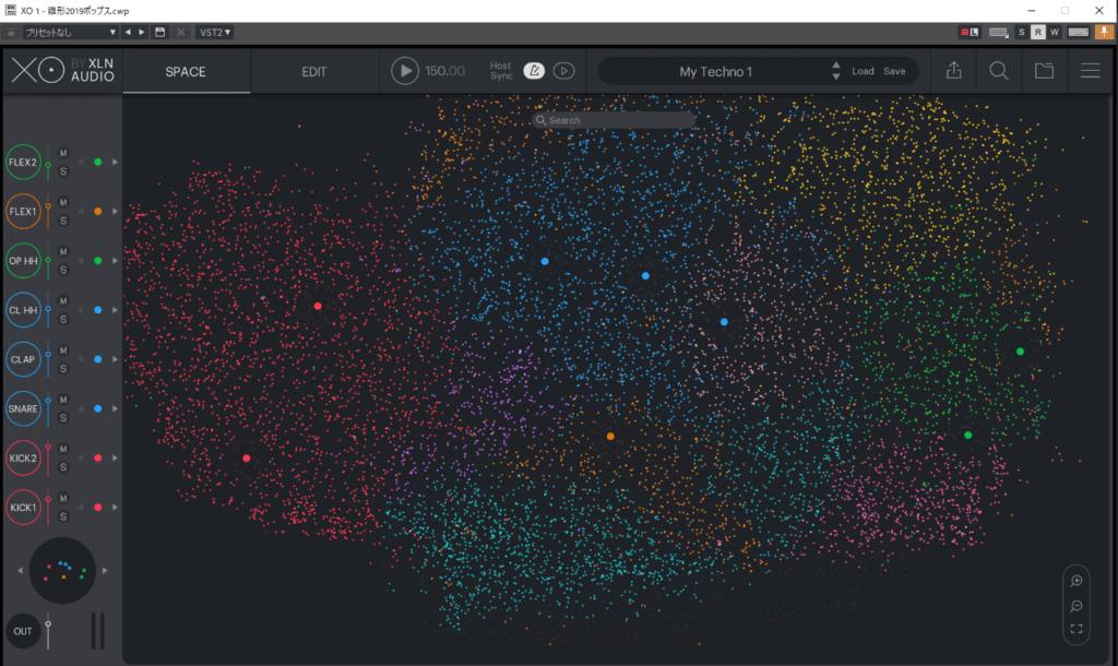 XOのメイン画面。星のように散らばっている音源を自由に選びリズムを組む
