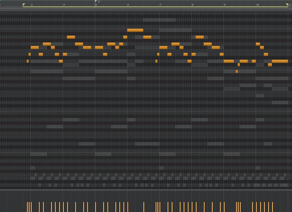 「Cakewalk by BandLab」のピアノロール上にノートを打ち込んでいきます。オレンジ色のはメインメロディ。