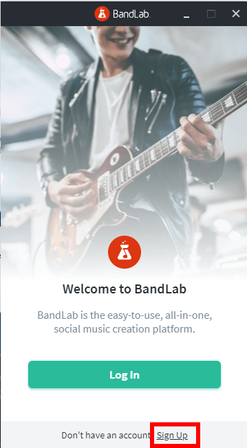 BandLab Assistantの「Welcome to BandLab」画面。