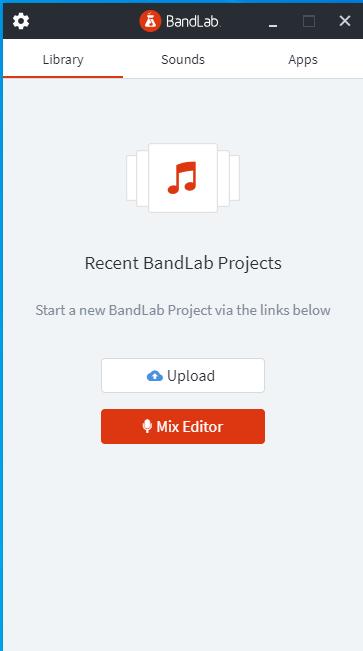 BandLab Assistantでログインが成功し、「Library」タブが表示された状態の画面