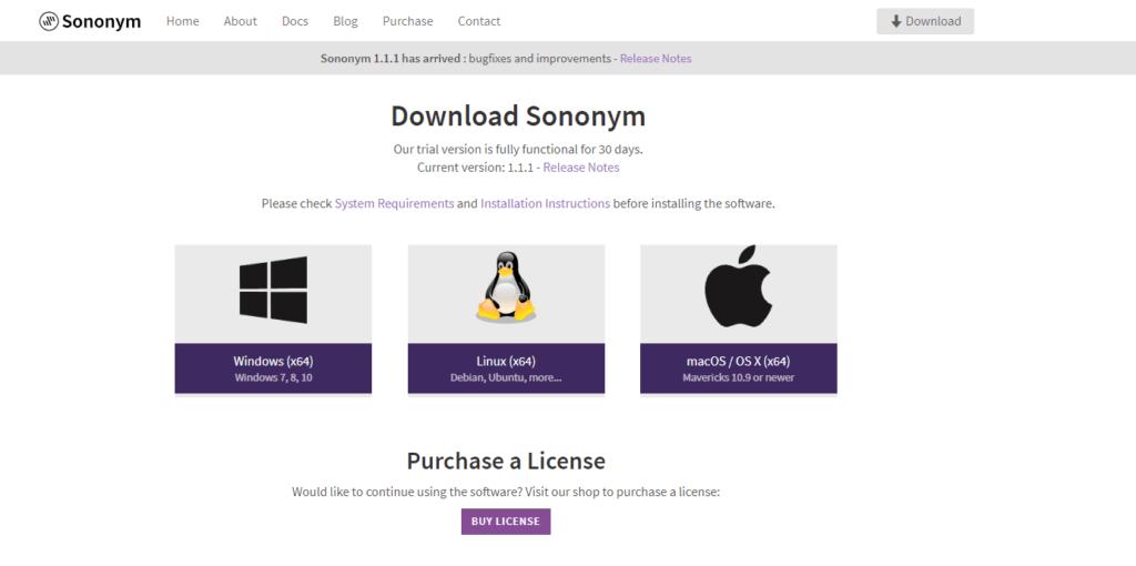「Sononym」公式HPのスクリーンショット