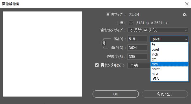 Photoshop 2020 スクリーンショット 画像解像度の設定