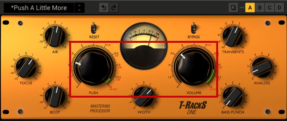 「PUSH」「VOLUME」は全体の音圧を調整できます
