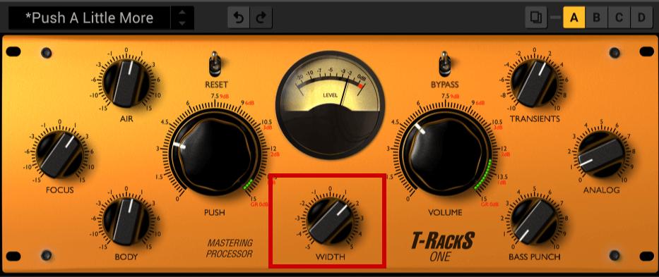 「WIDTH」では、音の広がりを制御できます